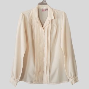 Vintage JC Penney Ivory Pleated Blouse
